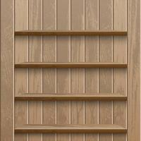 Realistic empty wooden shelves on wood wall