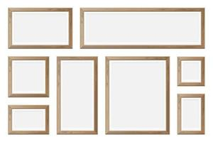 conjunto de marcos de madera realistas en blanco