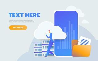 Cloud computing and communication technology concept with mobile phone vector