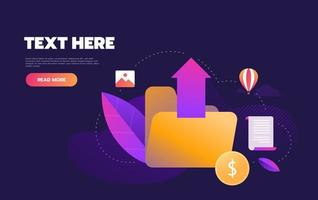 Modern upload design with folder and icons vector