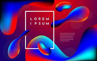 Modern style red and blue liquid shapes composition vector
