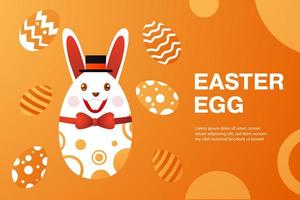 Easter banner with egg wearing top hat and bow tie vector