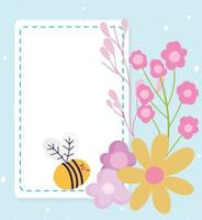 Cute little bee and flowers card template vector