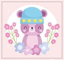 lindo oso con sombrero con decoración de flores vector