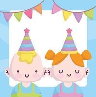 tarjeta de baby shower con niños pequeños vector