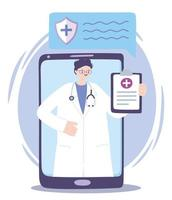 Atención médica en línea con médico en el teléfono inteligente.