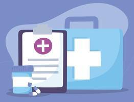botiquín de primeros auxilios, informe médico y pastillas