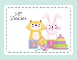 tarjeta de baby shower con lindos animalitos vector