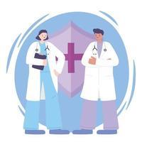 médicos masculinos y femeninos con un escudo médico