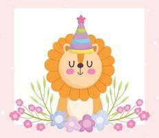 lindo león con gorro de fiesta y pancarta de flores vector