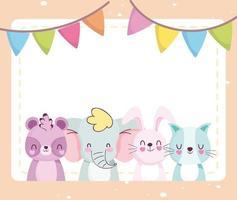 Cute little animals card template vector