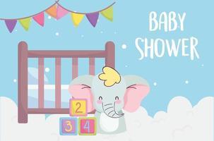 tarjeta de baby shower con lindo elefantito vector