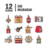 conjunto de iconos de celebración islámica eid mubarak vector
