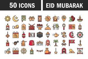 Eid Mubarak islamic celebration icon set vector