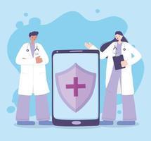 atención médica en línea a través de un teléfono inteligente vector