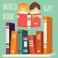 World book day, girl and boy reading