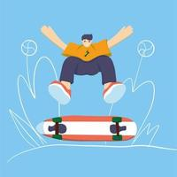 Stylish skater in jeans and sneakers vector