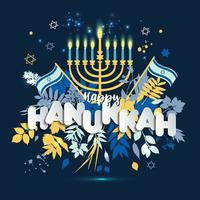 Jewish holiday Hanukkah design vector