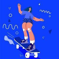 Stylish girl skater i vector