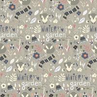Seamless pattern with winter garden flowers vector