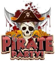 Font design for word pirate party with skull and swords vector