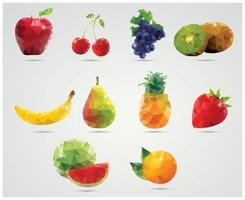 Collection of geometric polygonal fruits vector