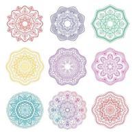conjunto de adornos florales redondos de mandala