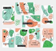 Tarjetas de yoga de primera calidad de juego de líneas. vector