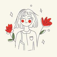 Girl with red flowers vector