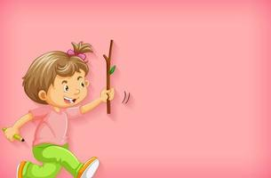 Plain background with happy girl with a wooden stick vector