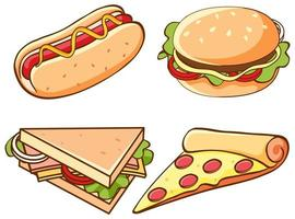 Isolated set of fast food vector