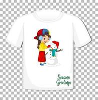 Cute girl playing with snowman cartoon character on t-shirt on transparent background vector