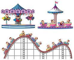 Set of monkeys riding on circus rides on white background