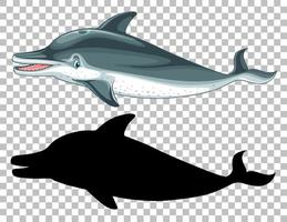 Cute whale and its silhouette on transparent background