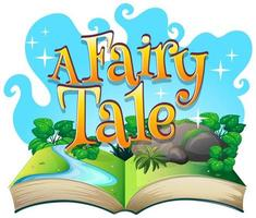 Font design for word a fairy tale with scene from a book vector