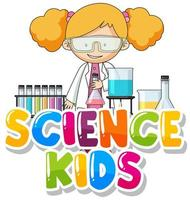 Font design for word science kids with kid in the lab