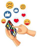mano regañando el teléfono con emoticonos alrededor vector