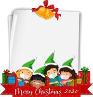 papel en blanco con el logotipo de la fuente Feliz Navidad 2020 y los niños usan máscara vector