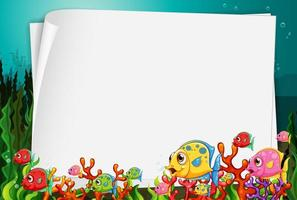 Blank paper banner with exotic fish and undersea nature elements on the underwater background vector