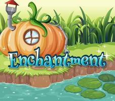 Font design for word enchantment with pumpkin house by the river vector