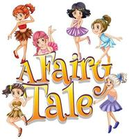 Font design for word a fairy tale with cute fairies