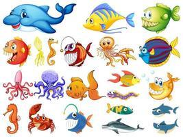 Gran conjunto de muchas criaturas marinas sobre fondo blanco. vector