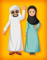 personaje de dibujos animados de pareja árabe vector