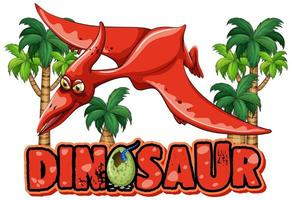 Font design for word dinosaur with pteranodon flying vector