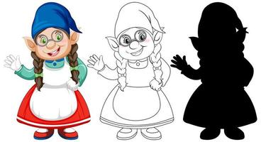 Gnome in color and outline and silhouette in cartoon character on white background vector