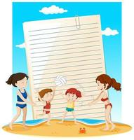 Blank paper note template summer theme