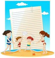 plantilla de nota de papel en blanco tema de verano