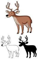 conjunto de dibujos animados de ciervos