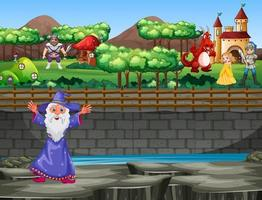Scene with wizard and dragon at the palace vector