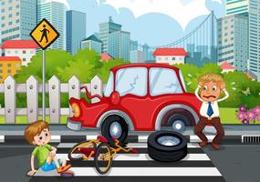 Accident scene with car crash in the city vector